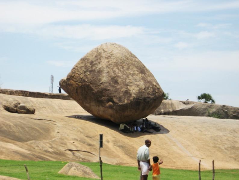krishnas butterball, tamil nadu, megatsunami, boulder,