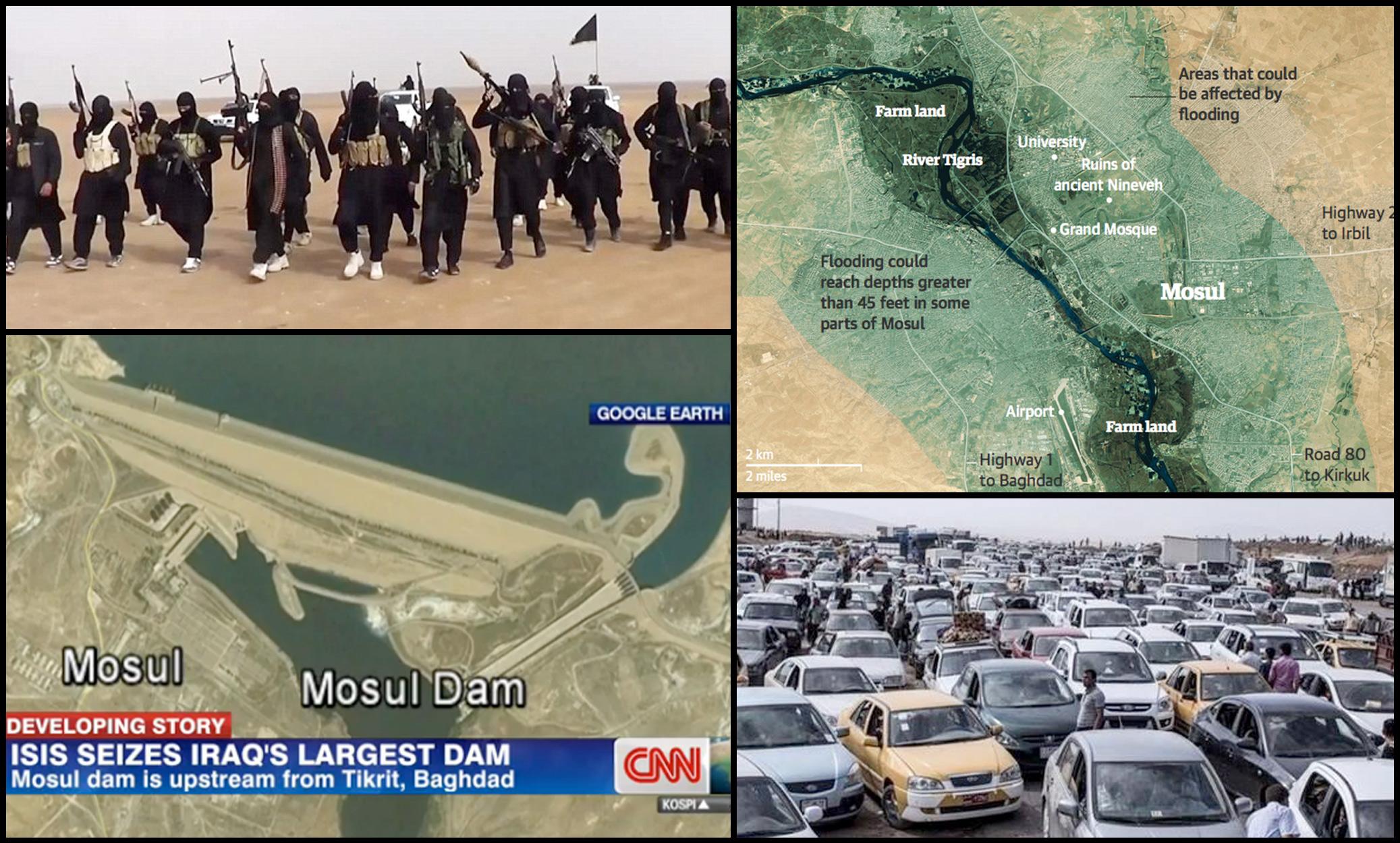 flood, mosul, iraq, evacuation, isil