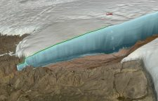An illustration of the ice-filled crater discovered in Greenland. Photograph: Nasa/Cryospheric Sciences Lab/Natural History Museum of Denmark